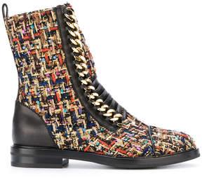 Casadei chain tweed combat boots