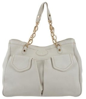 Bvlgari Textured Leather Chain-Link Tote