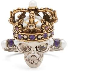 Alexander McQueen King skull crystal and pearl-embellished ring
