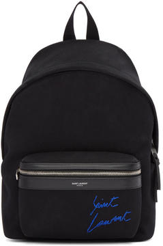 Saint Laurent Black Embroidered Mini City Backpack
