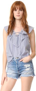 Ella Moss Azur Stripe Ruffle Blouse