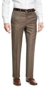 Brioni Sharkskin Wool Flat-Front Trousers, Brown