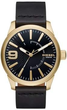 Diesel R) Rasp Leather Strap Watch, 46mm