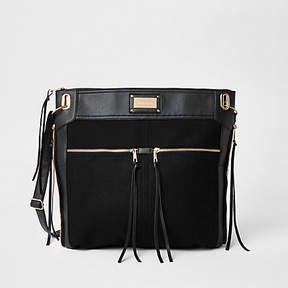 River Island Black oversized messenger bag