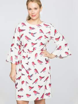 Draper James for ELOQUII Flare Sleeve Printed Dress