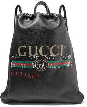 Gucci Printed Textured-leather Backpack - Black - BLACK - STYLE
