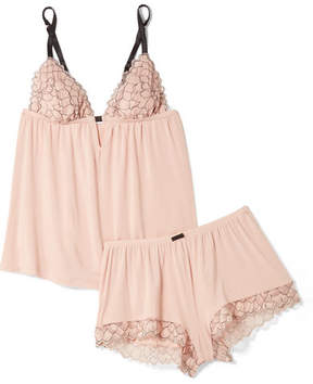 Eberjey Rosario Corded Lace-trimmed Stretch-modal Jersey Pajama Set - Blush