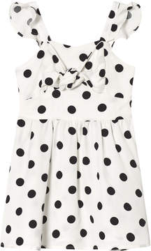 Bardot Junior White Dress with Black Spots and Knot