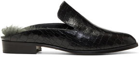 Robert Clergerie Black Croc and Shearling Alice Mules