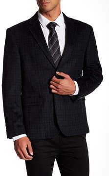 Nautica Grey-Blue Check Two Button Notch Collar Sport Coat