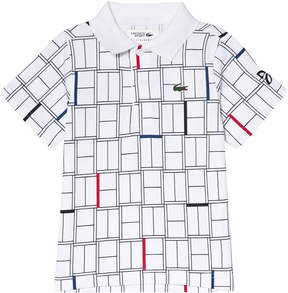 Lacoste White And Black Lightweight Tennis Ribbed Collar Shirt