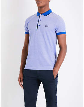 BOSS GREEN Two-tone cotton-piqué polo shirt
