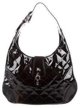 Burberry Quilted Patent Leather Hobo - BLACK - STYLE