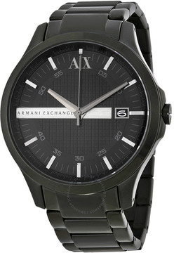 Armani Exchange Hampton Black Dial Black Ion-plated Men's Watch