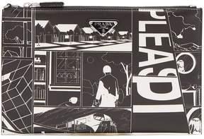 Prada Comic-print leather pouch