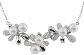 Bella Pearl Sterling Silver Triple Flower Necklace