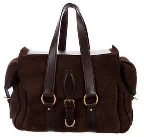 Saint Laurent Suede & Shearling Shoulder Bag