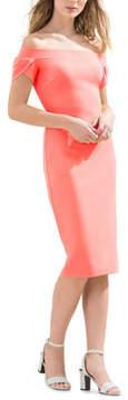 Donna Morgan Off-The-Shoulder Bodycon Midi Dress