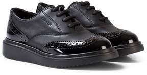 Geox Black Leather and Patent Junior Thymar Brogues