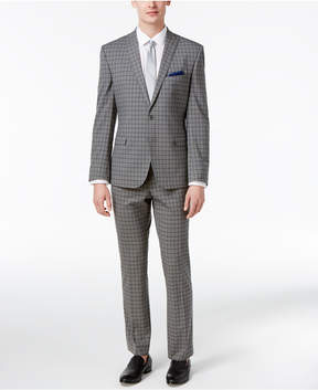 Nick Graham Men's Slim Fit Stretch Gray and Black Check Suit