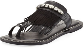 Bernardo Mona Low Fringe Flat Sandal, Black