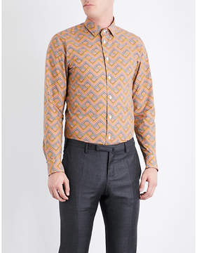 Richard James Zigzag-patterned contemporary-fit cotton shirt