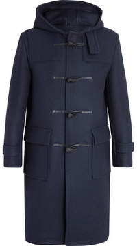 MACKINTOSH Leather-Trimmed Felted Wool Duffle Coat