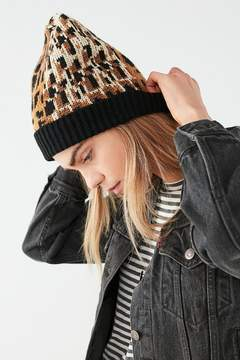 Urban Outfitters Graphic Leopard Intarsia Beanie
