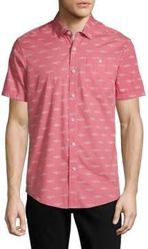 Report Collection Men's Shark-Print Cotton Button-Down Shirt