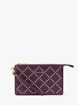 Michael Kors Daniela Grommeted Leather Wristlet - PURPLE - STYLE