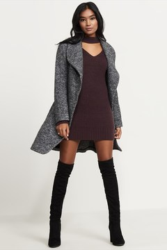 Dynamite Wool Waterfall Coat With Belt