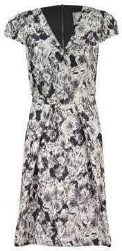 Vince Camuto Womens Floral Print Metallic Party Dress