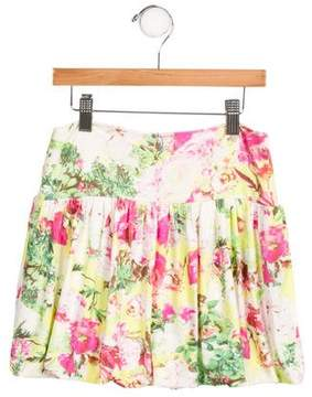 Junior Gaultier Girls' Floral Print Gathered Skirt w/ Tags