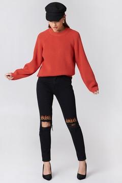 NA-KD Na Kd Ripped Knee Flame Embroidery Jeans