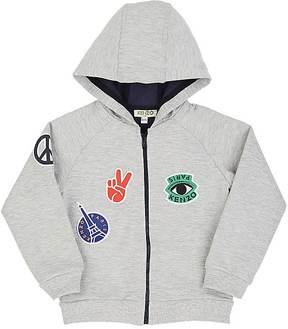Kenzo Kids' Patch-Detailed Cotton Zip-Front Hoodie