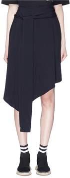 Bassike Asymmetric belted twill skirt