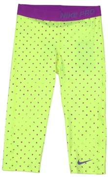 Nike Big Girls' (7-16) Pro Printed Training Capris-Yellow-Large