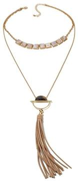 Danielle Nicole Yucca Neutral Stone Double-Layer 18 Tassel Necklace