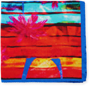 Bugatchi Palm Tree-Print Silk Pocket Square