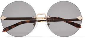 Karen Walker Disco Circus Round-frame Gold-tone Sunglasses - Black