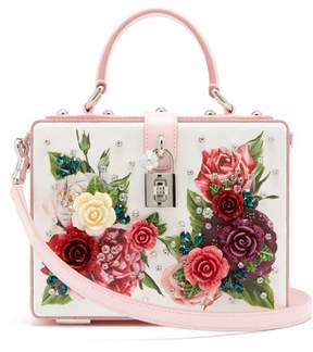 Dolce & Gabbana Embellished Floral Print Leather Box Bag - Womens - Pink White