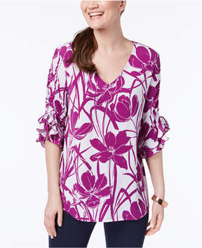 Alfani Printed Ruched Sleeve Top, Created for Macy's