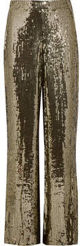 Alice + Olivia Alice Olivia - Racquel Sequined Satin Wide-leg Pants - Gold