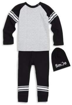 Petit Lem Baby's Three-Piece Long-Sleeve, Joggers & Logo Hat Set