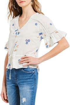 Chelsea & Violet Floral Embroidered Ruffle Sleeve Top