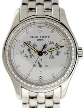 Patek Philippe Complications 18K White Gold Annual Calendar Diamond Dial/Bezel 37mm Watch