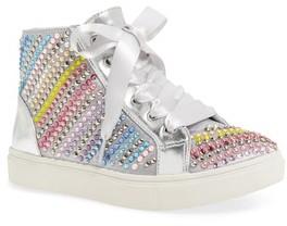 Steve Madden Girl's Steve Madeen Rainey Rainbow Studded High Top Sneaker