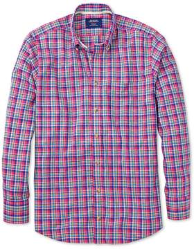 Charles Tyrwhitt Slim Fit Pink and Green Check Cotton/linen Casual Shirt Single Cuff Size Medium