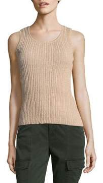 Ellen Tracy Pullovers Lurex Pleated Shell Tank Top
