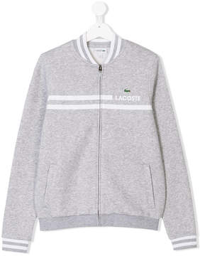 Lacoste Kids TEEN logo print bomber jacket